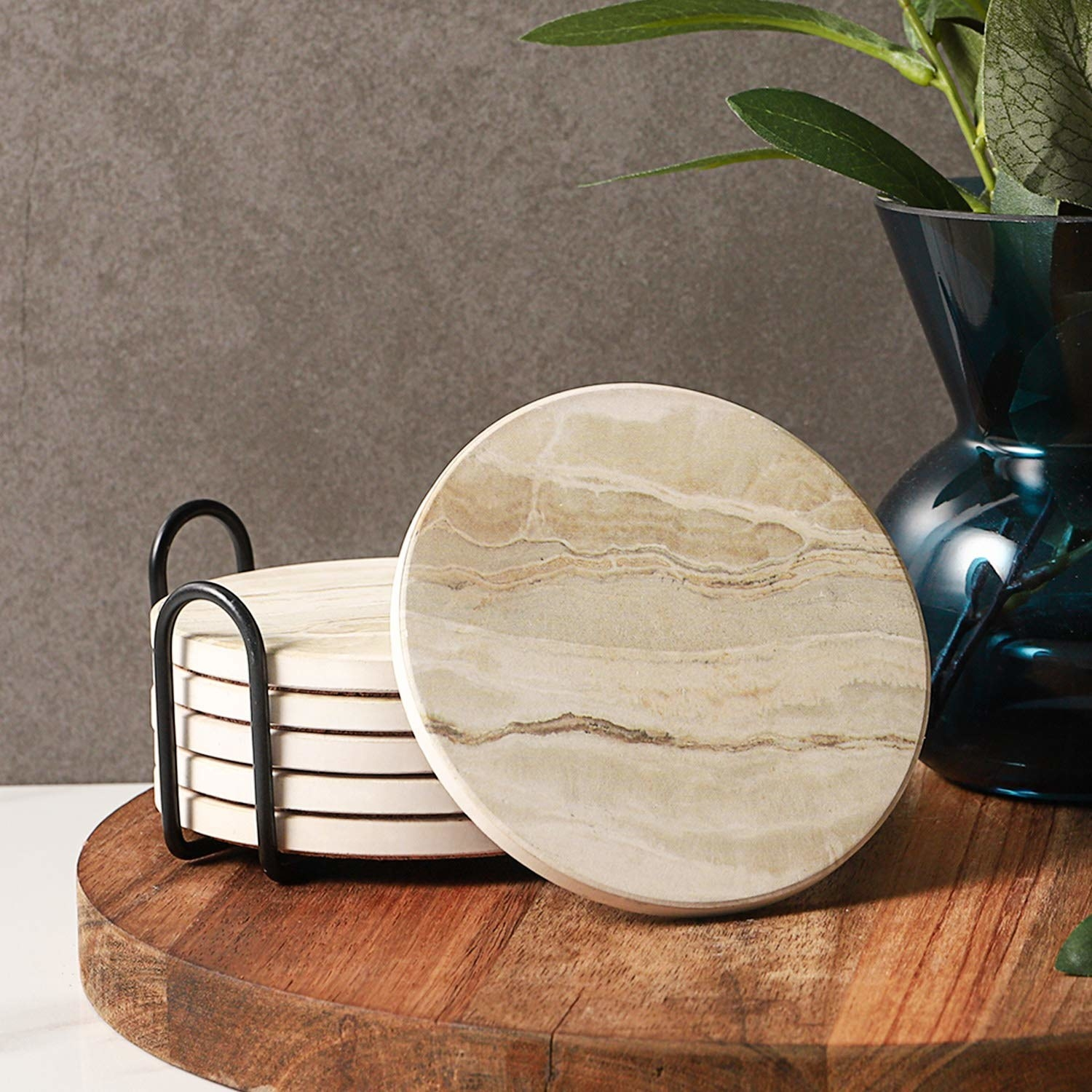 sand colored marbled coasters