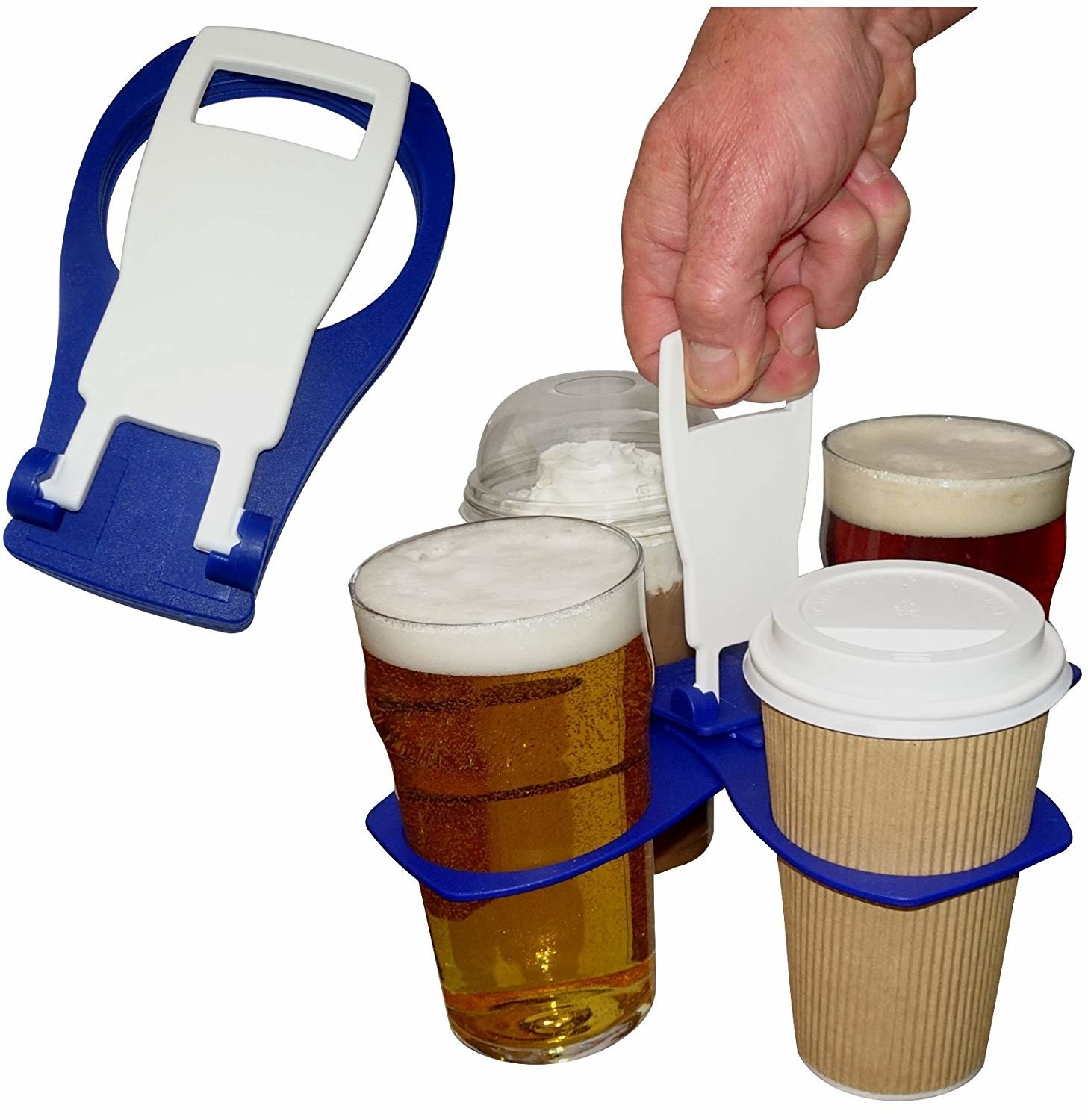 The drink carrier collapses into a flat device, but opens to hold four drinks like floating cup holders held by the handle in the center
