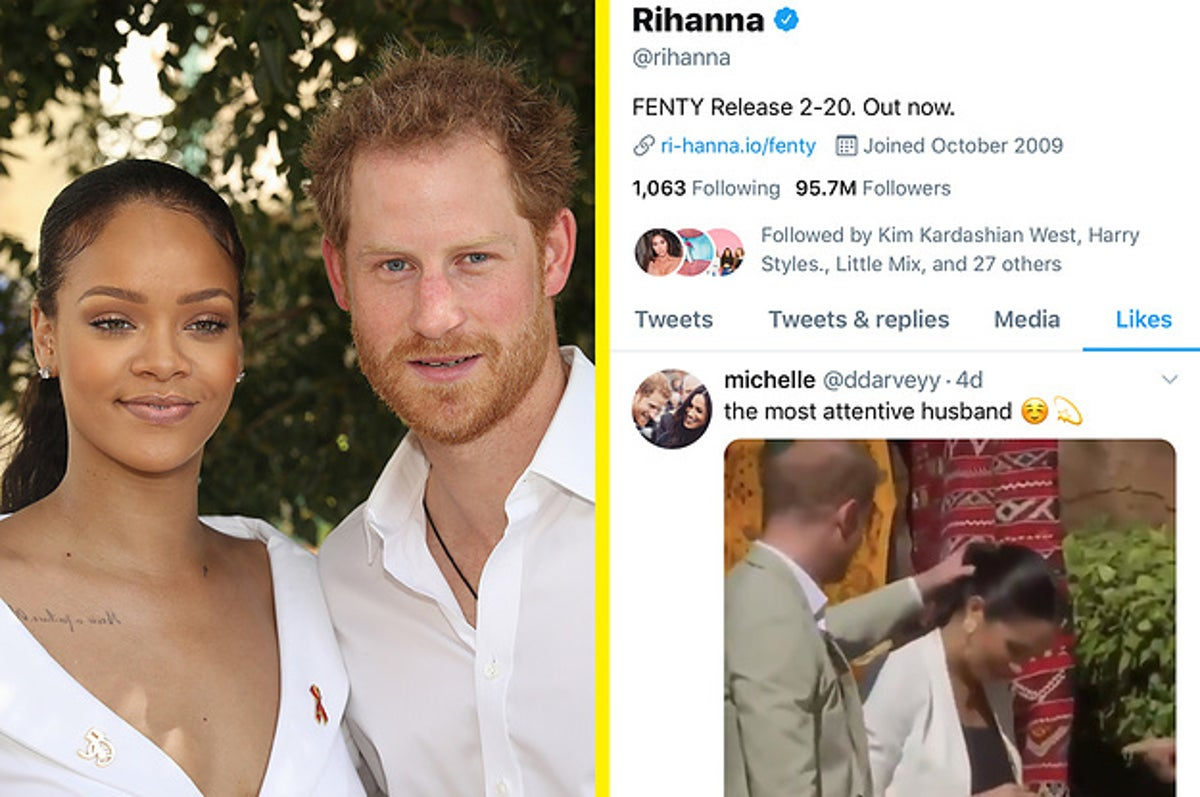 rihanna likes video of prince harry fixing meghan markle s hair prince harry fixing meghan
