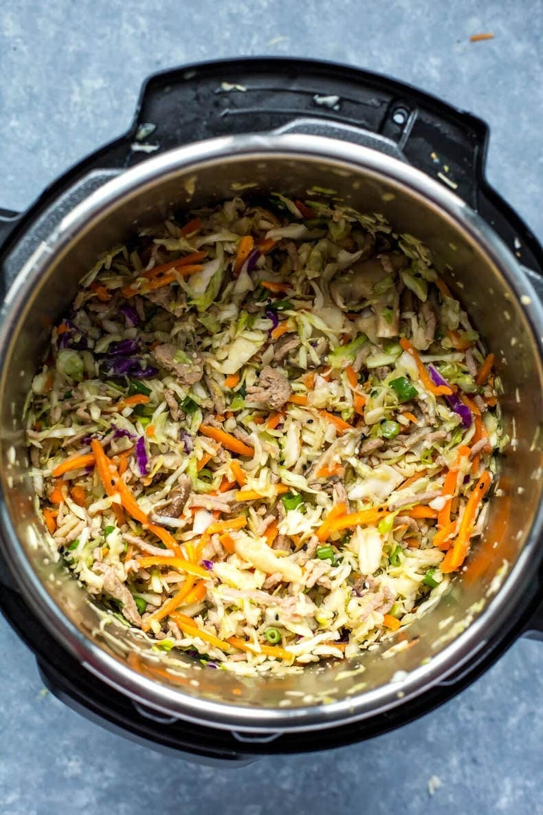 Egg roll in a bowl, prepared in the Instant Pot