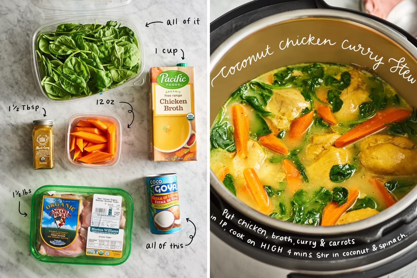 Coconut chicken curry stew, before and after it's cooked in the Instant Pot