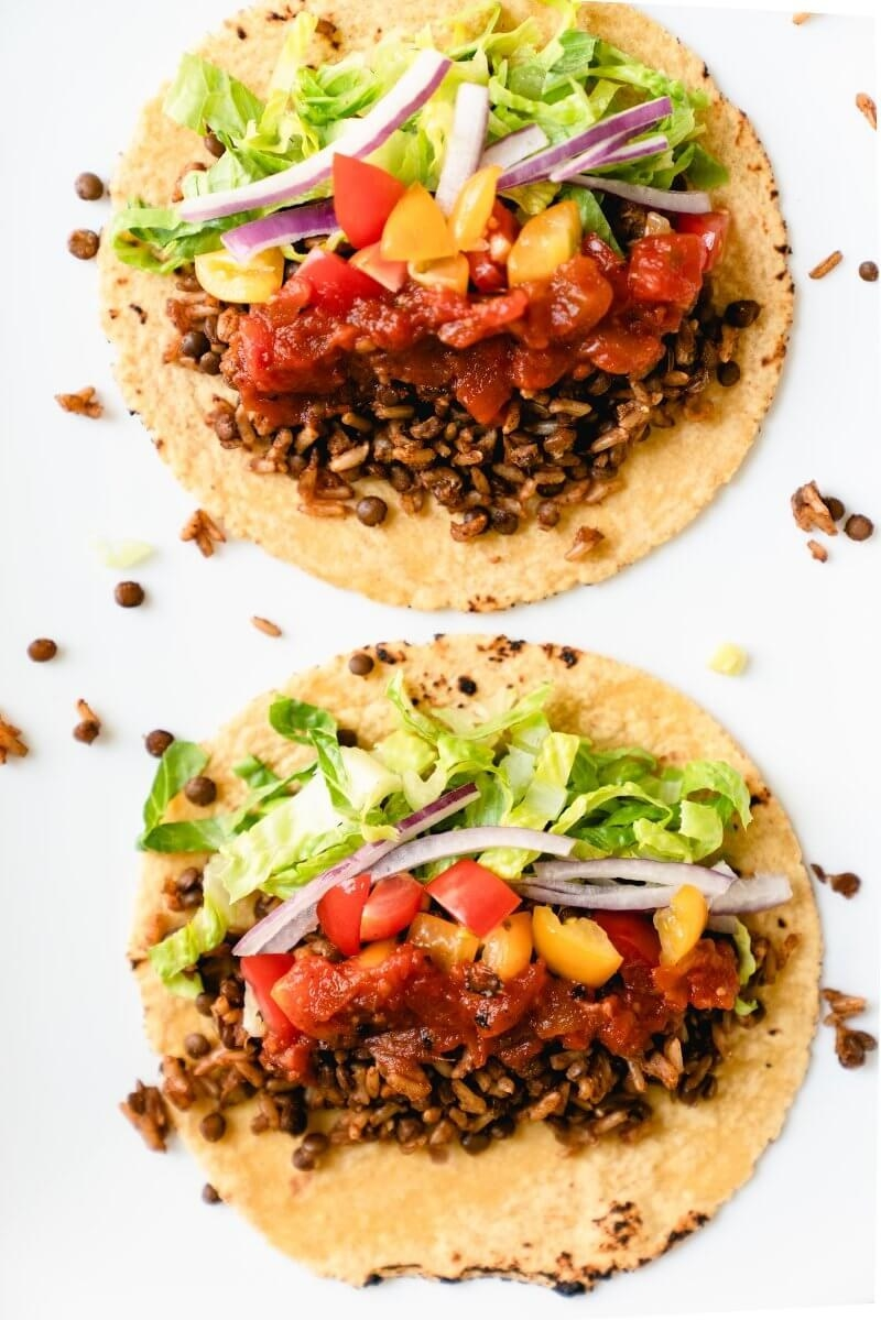 A finished pair of vegan Instant Pot tacos