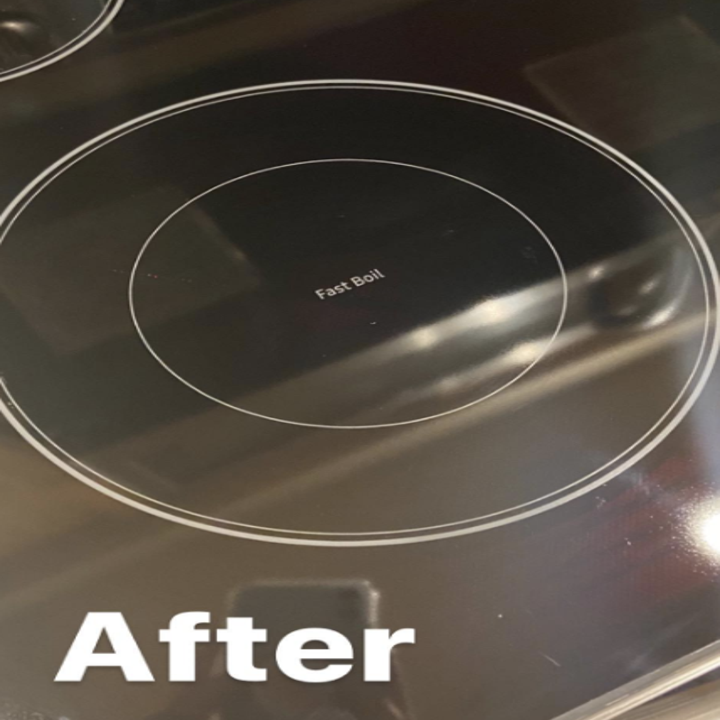 A clean cooktop after using the kit