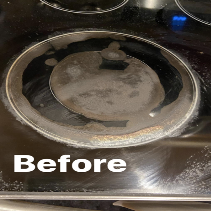 A dirty cooktop before using the kit