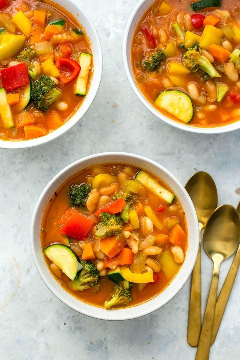 Bowls of Instant Pot vegetable soup