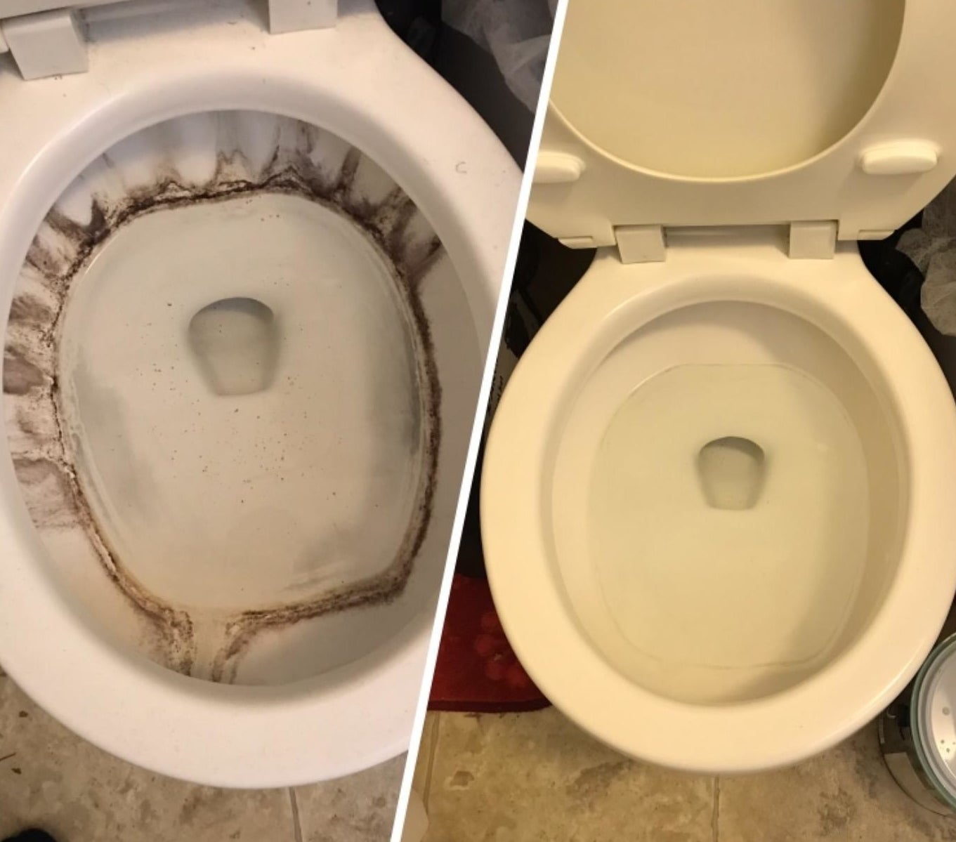 reviewer's photo of a toilet with brown stains in it compared to the after photo of it looking clean, white, and stain-free