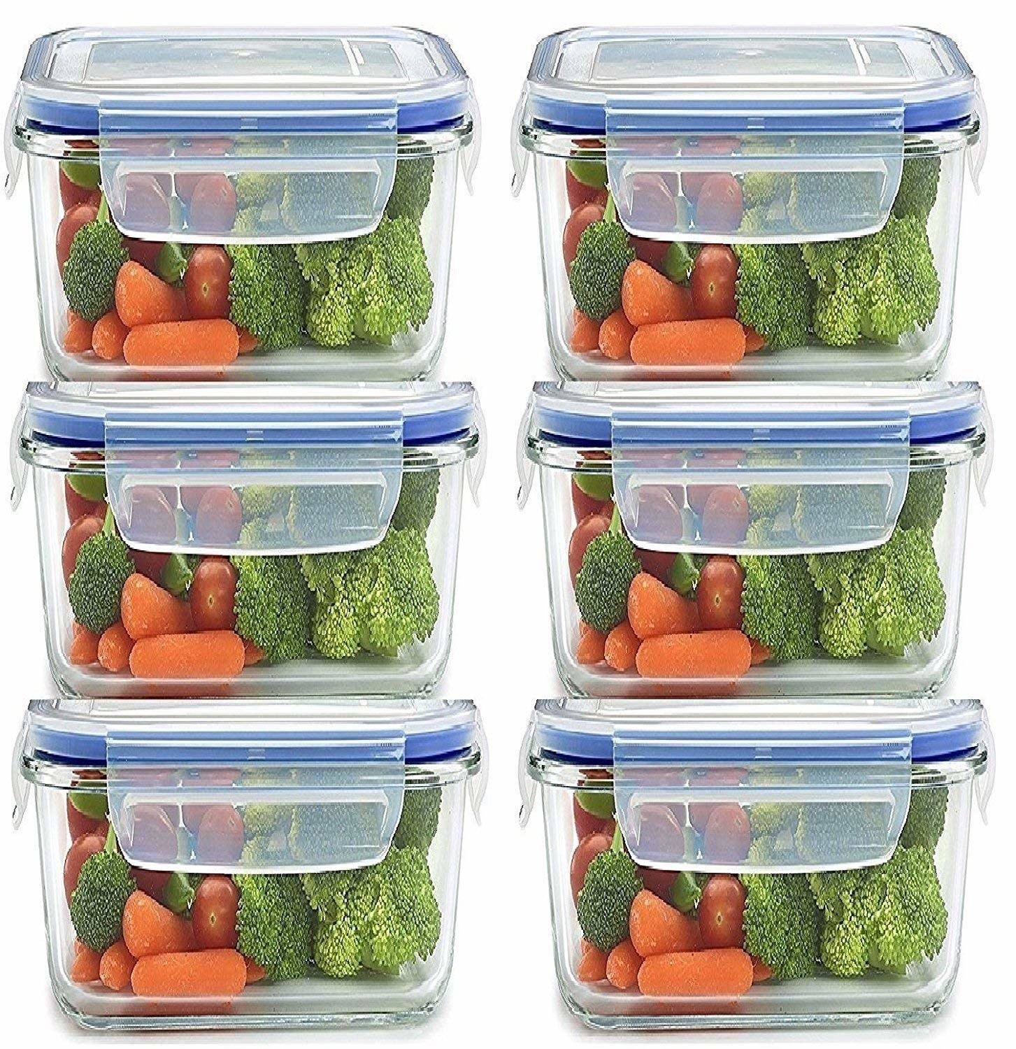Six airtight food containers with different vegetables in them