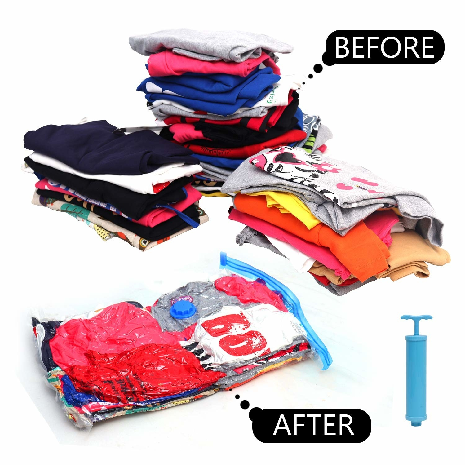 Before and after images of multiple folded clothes in the vacuum bag and outside it. The ones outside take much more space