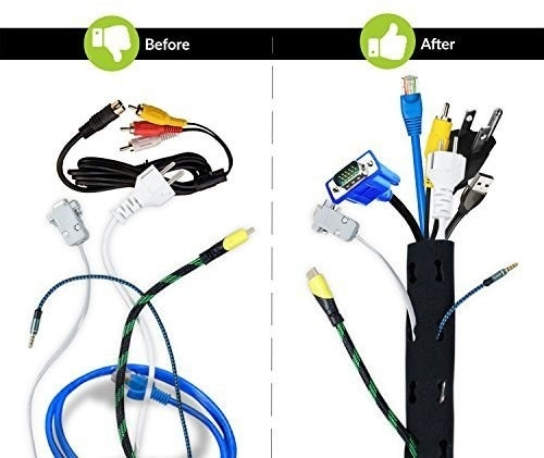 Before and after images of a bunch of wires jumbled up on their own and neatly organised using the cable sleeve