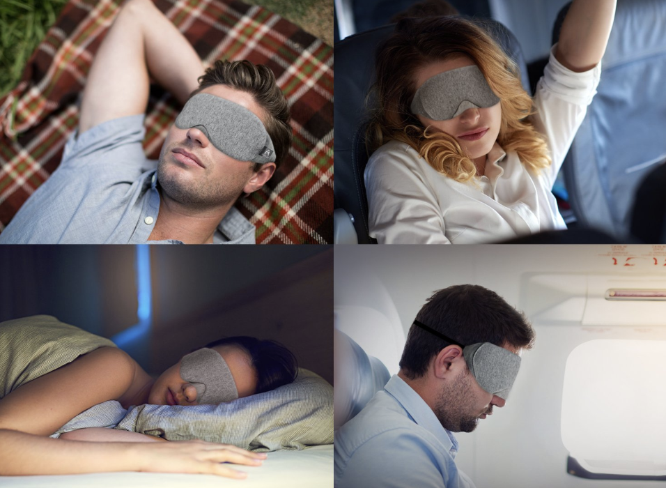 models wearing the light-blocking sleep mask in bed, on couch, and on flights