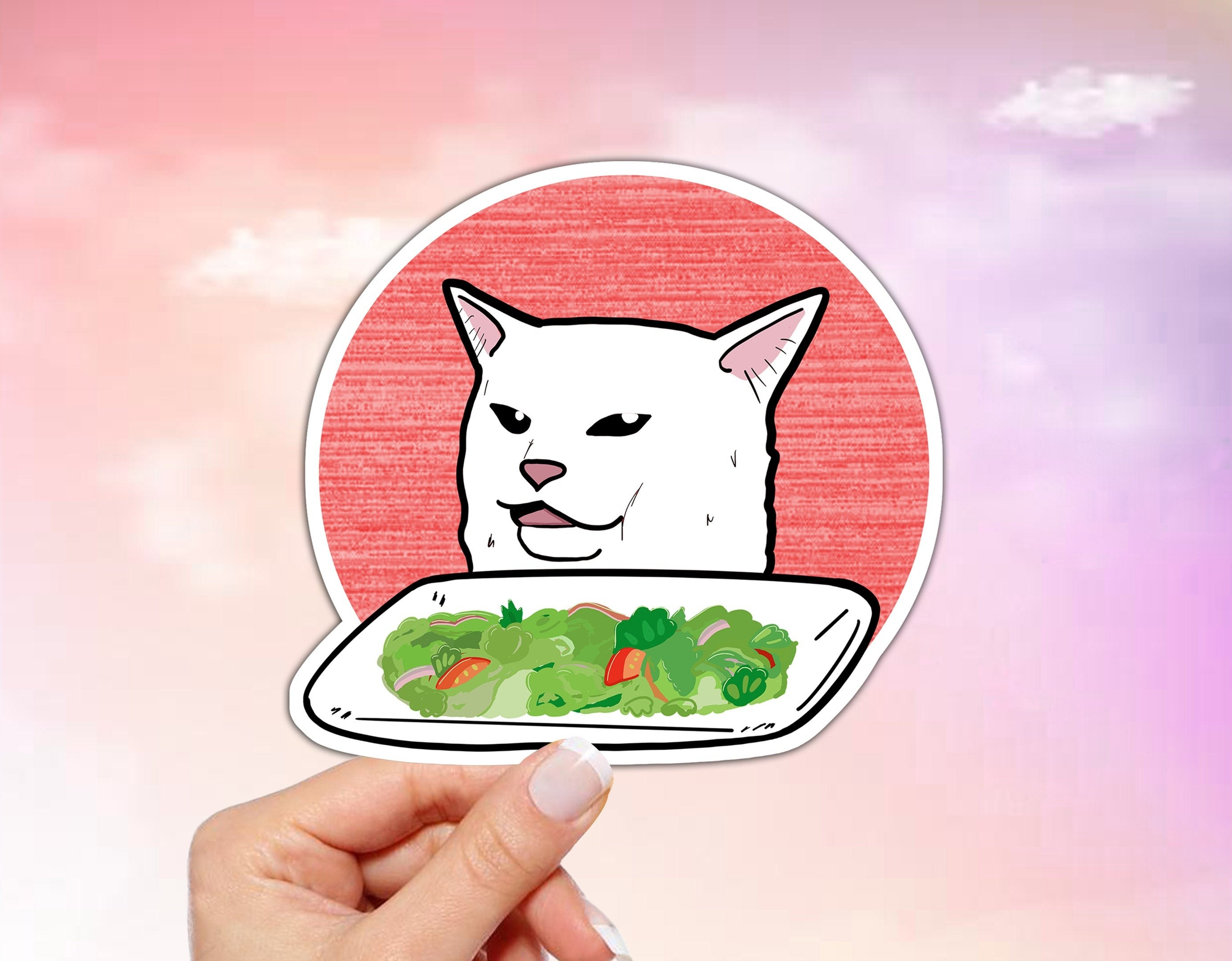 A vinyl sticker rendition of the popular cat with a salad meme.