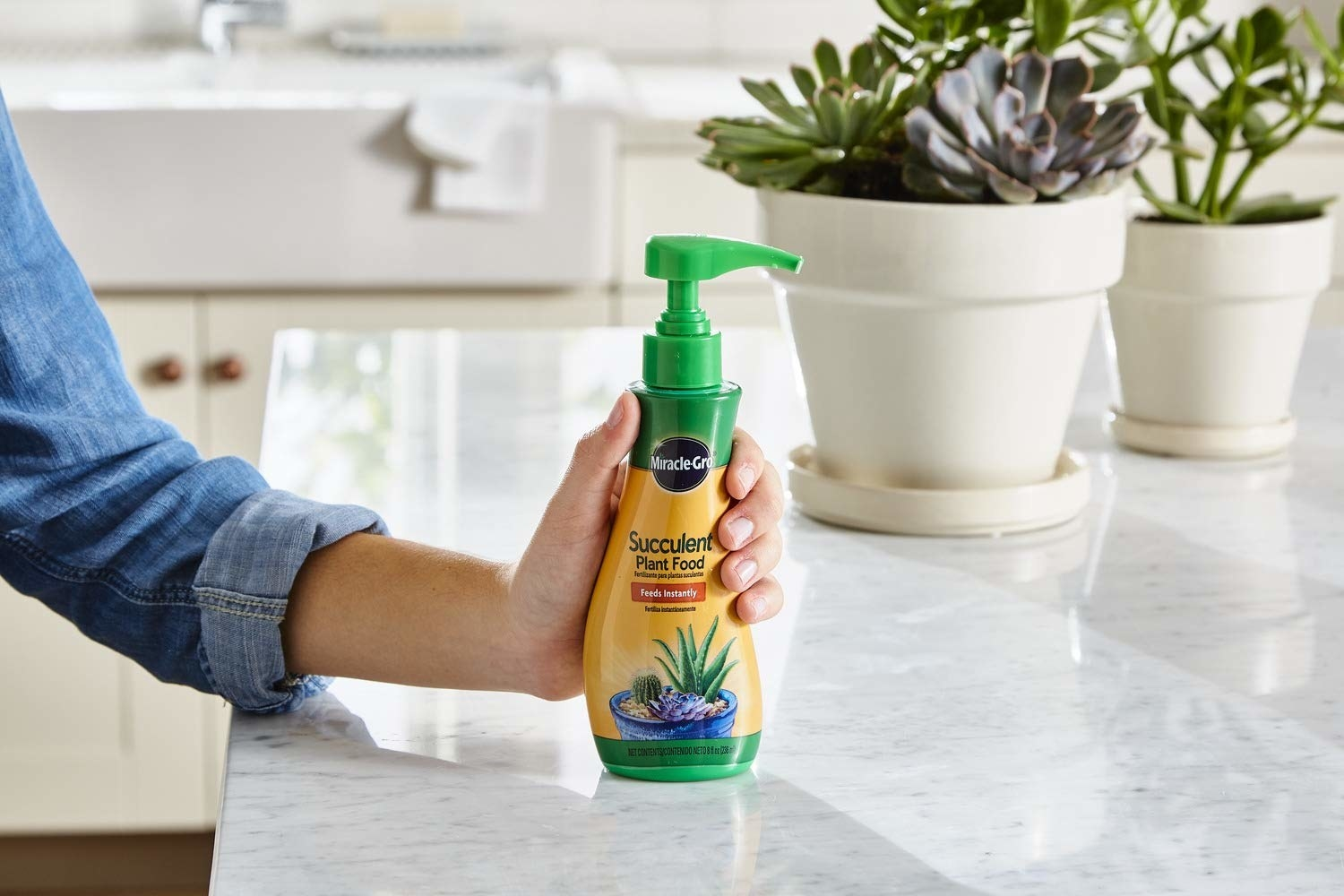 A bottle of Miracle Gro succulent plant food.