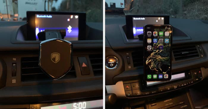 A phone mount clipped a a dashboard in one pic, with a phone magnetized to it in the second one