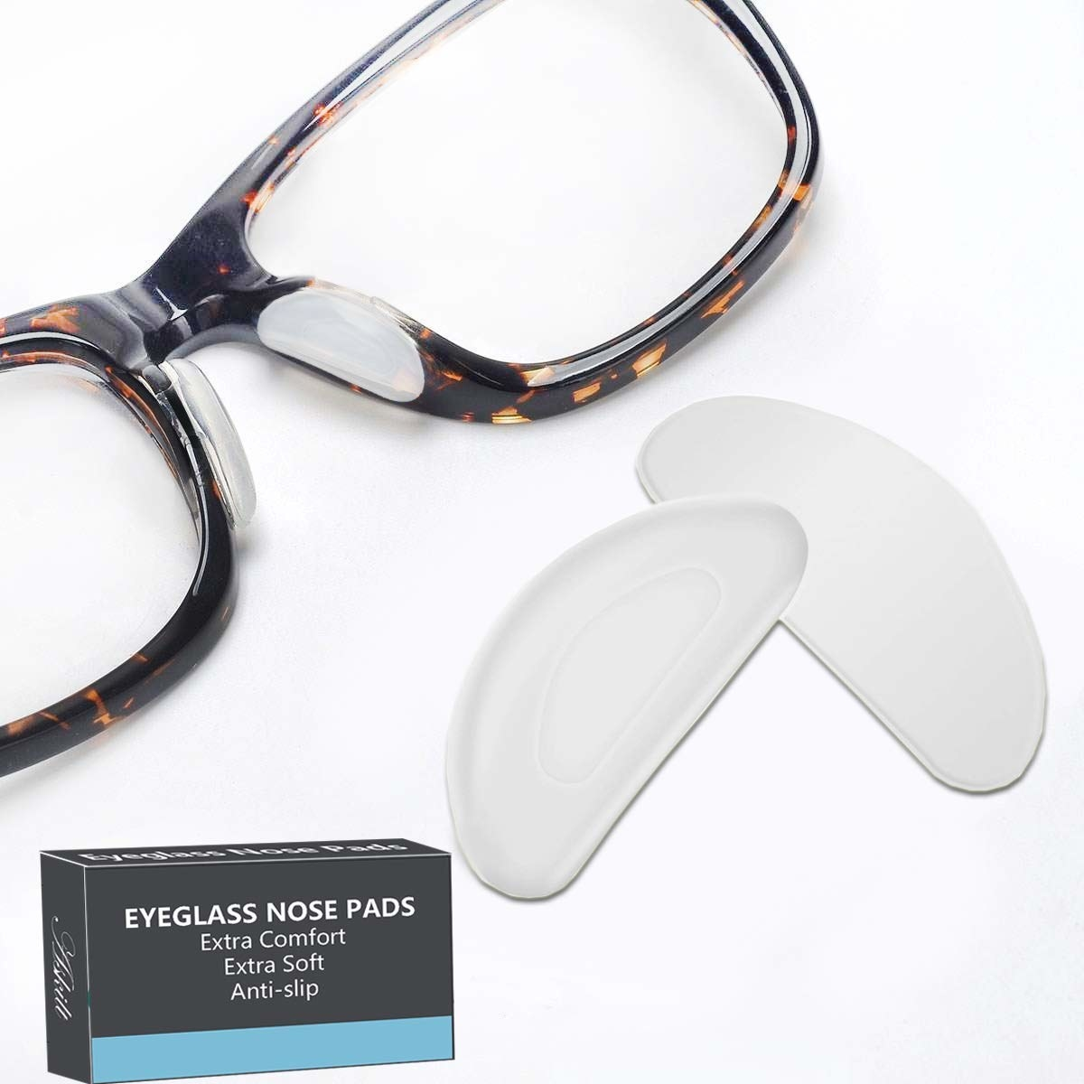 Eyeglass nose pads on a pair of glasses