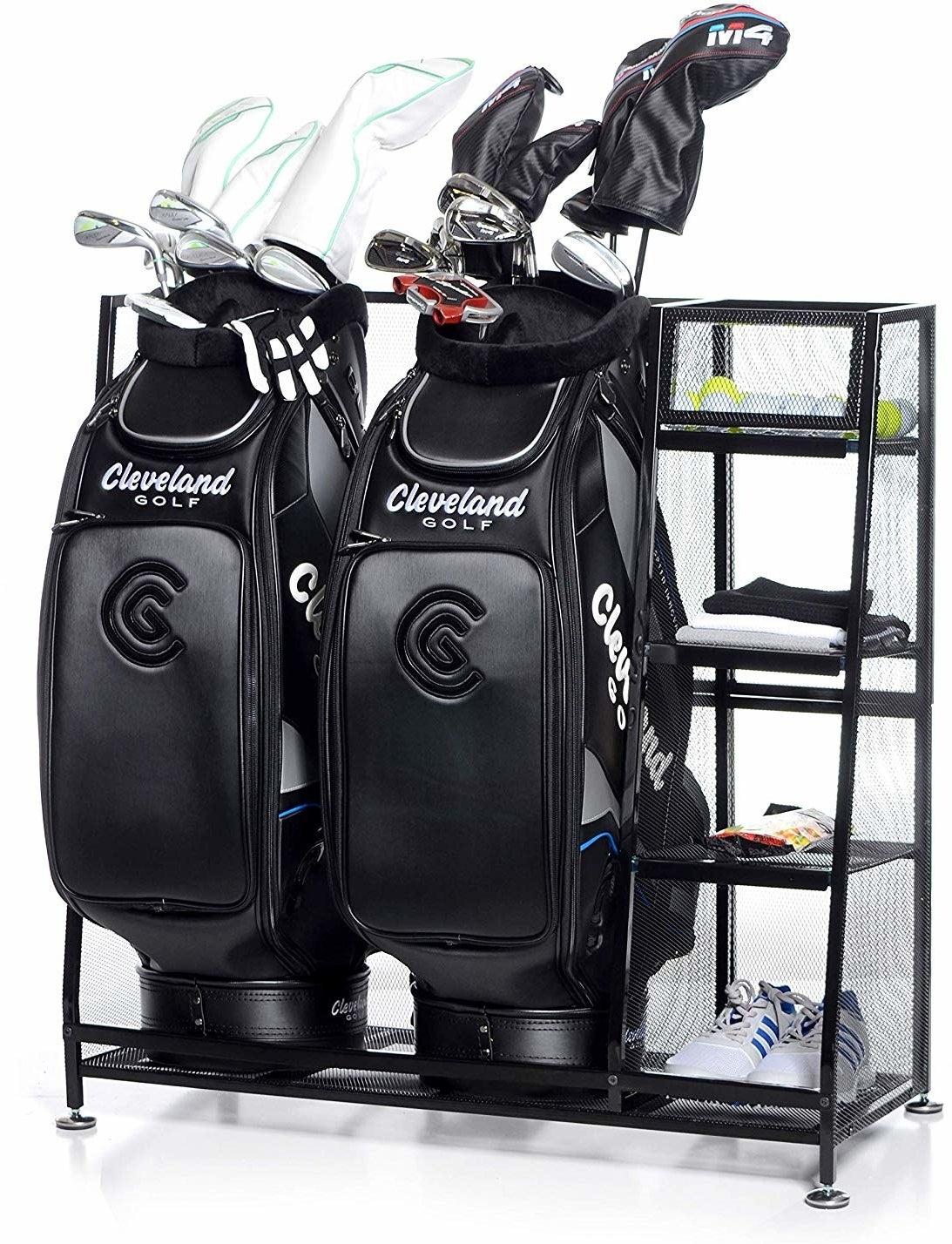 rack storing two full golf bags full of equipment, plus four shelves storing shoes, balls, or extra items