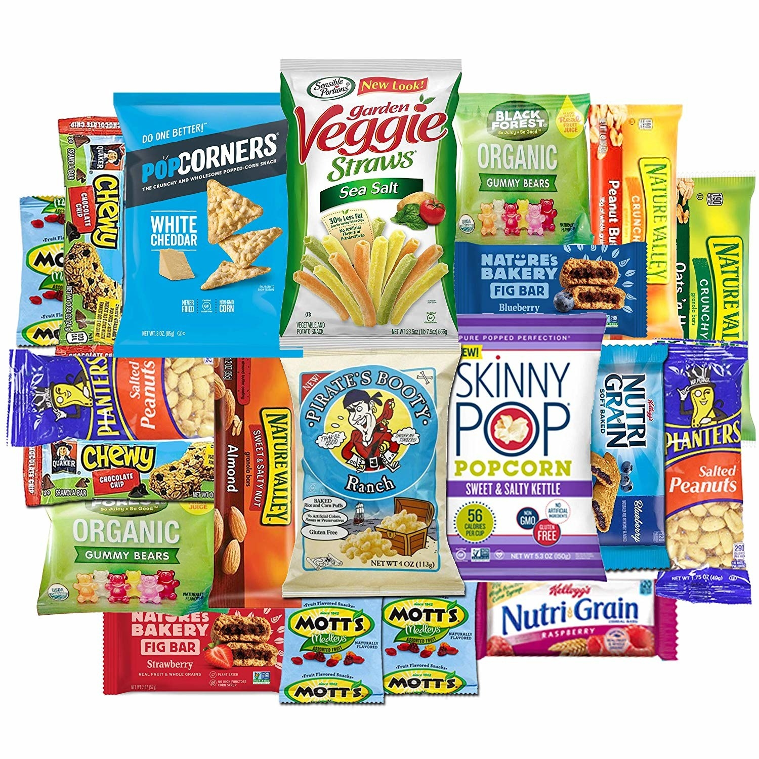 As assortment of granola bars, popcorn, nuts, and other snacks