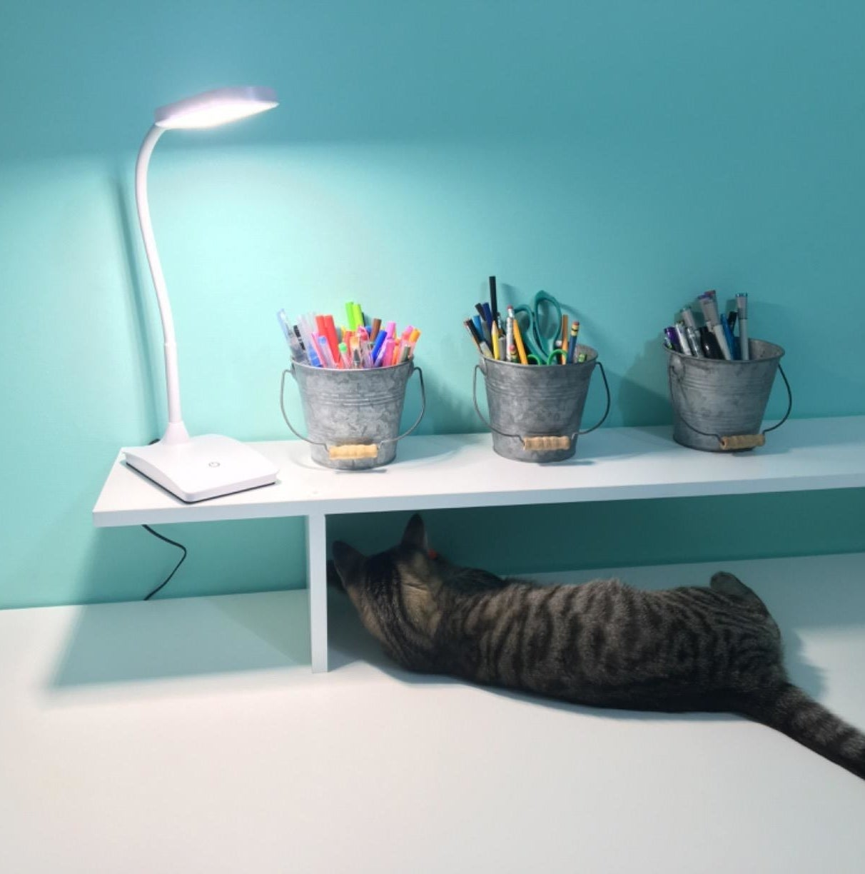 Reviewer picture of the white desk lamp with a sloped bending stand on a desk