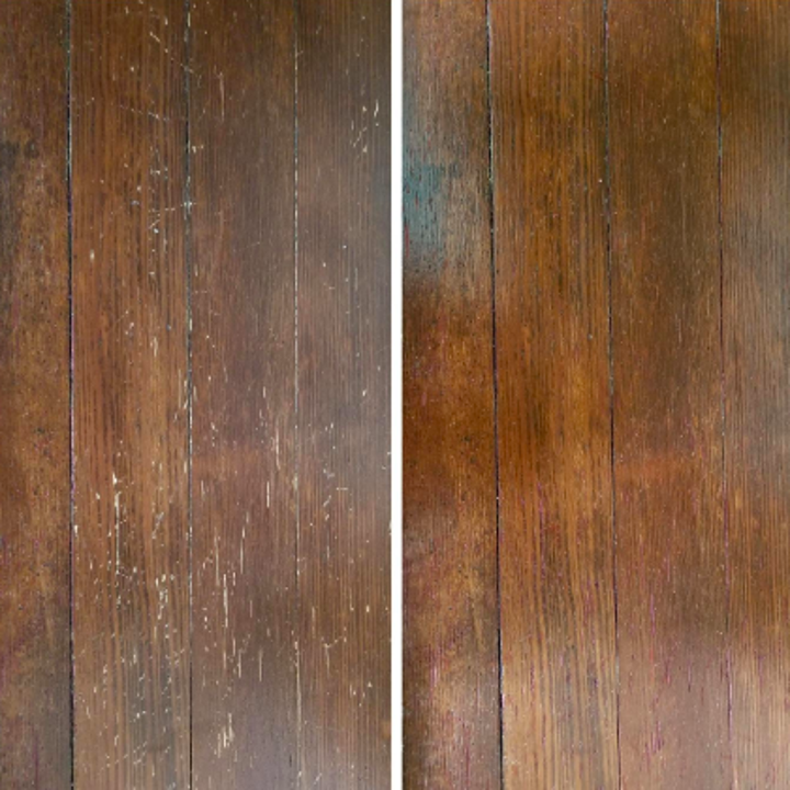 Review before-and-after with scratches on floor cleared up with markers