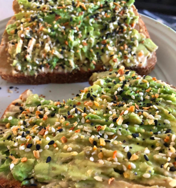 Reviewer photo of the seasoning on top of an avocado toast