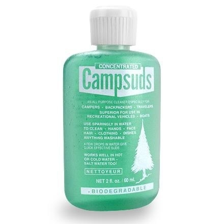 small green bottle of camp suds