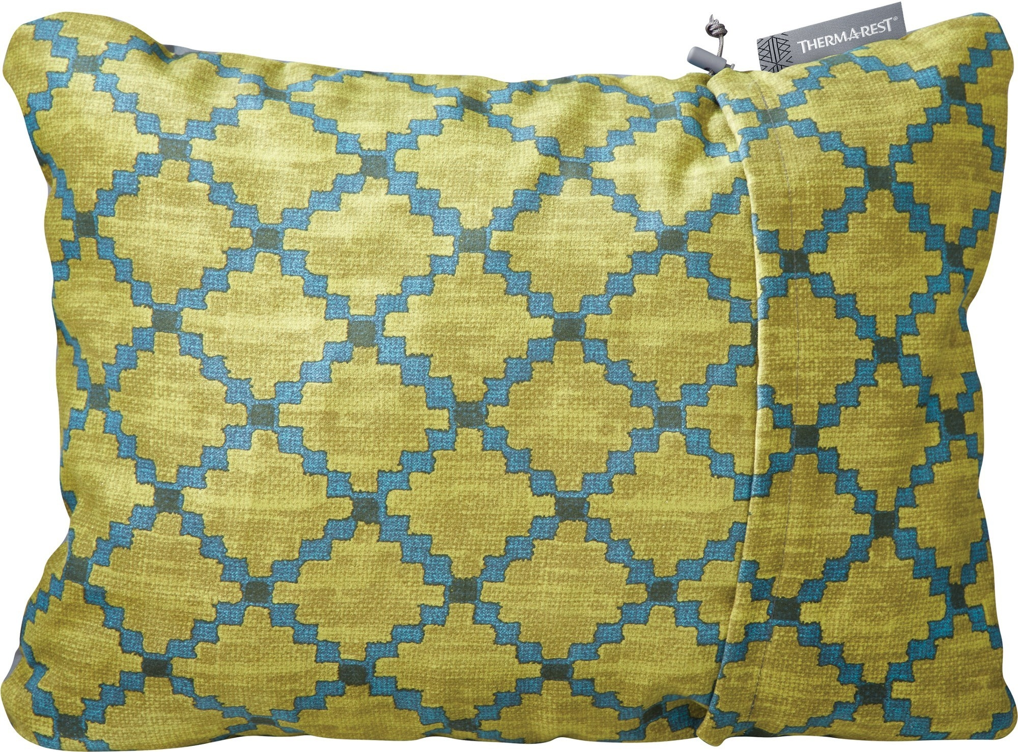 small green and blue patterned pillow