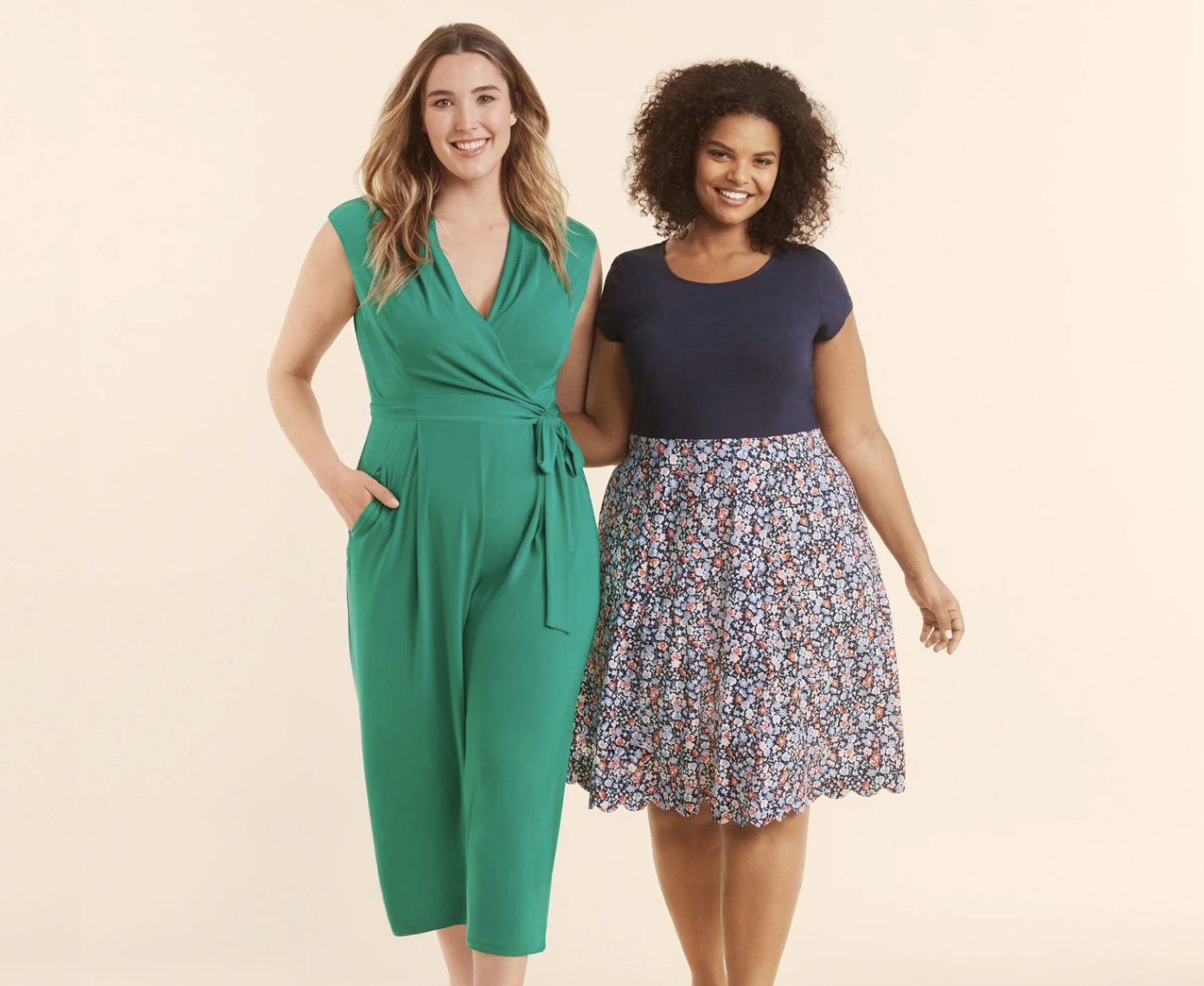 on left, model in tie-waist sleeveless green jumpsuit, and on right, model in navy tee and floral-printed skirt