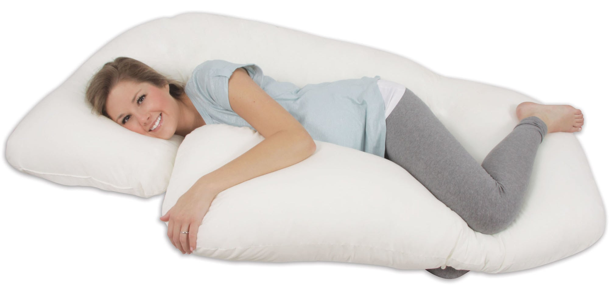 Model spooning the body pillow