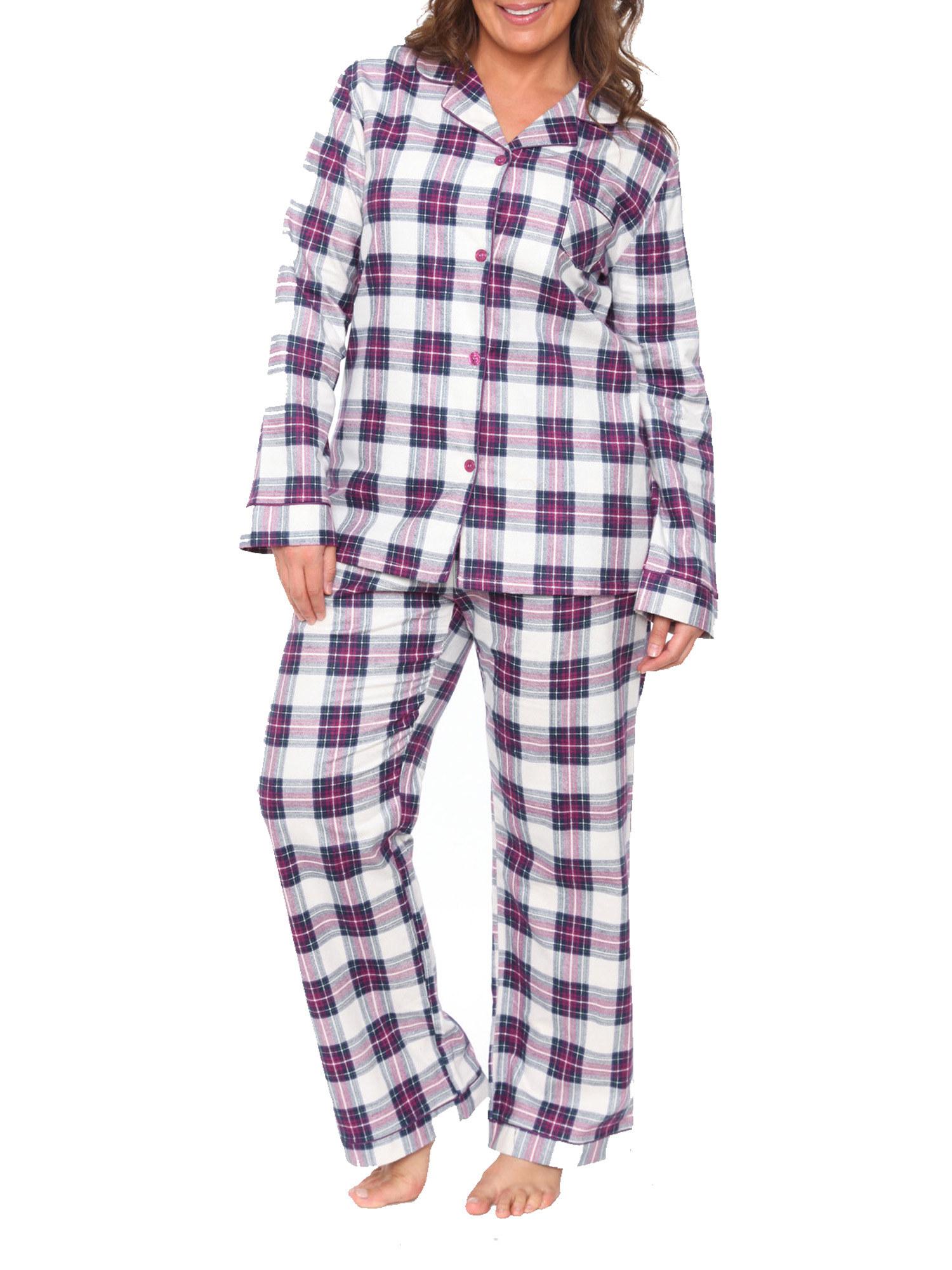 The matching long-sleeve purple plaid pajamas