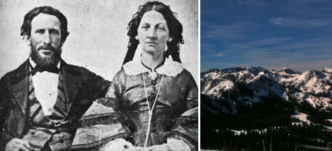 Side-by-side of James and Margret Reed and some mountains
