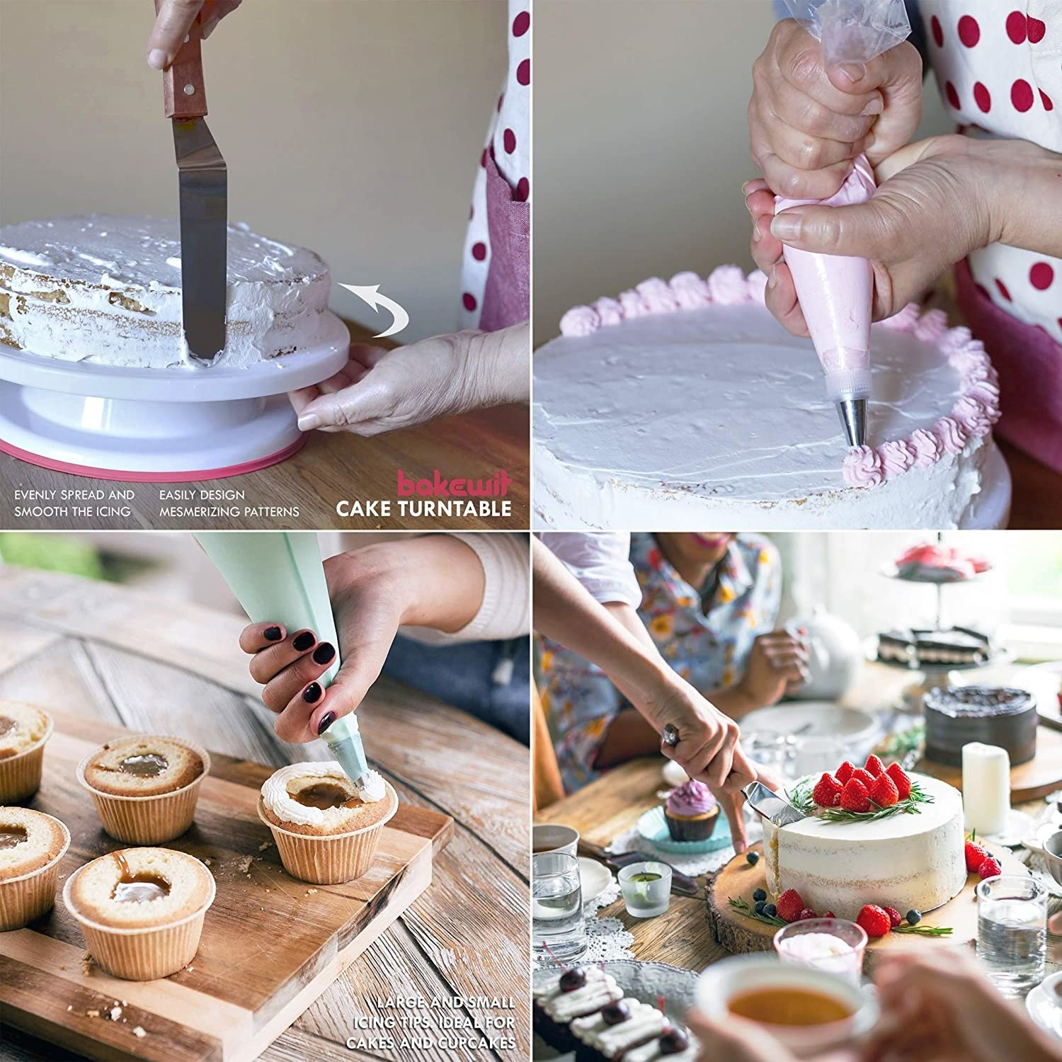 Models using the cake decorating tools to frost cakes