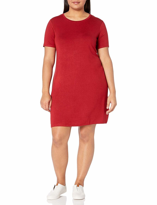 Model in the dress in red