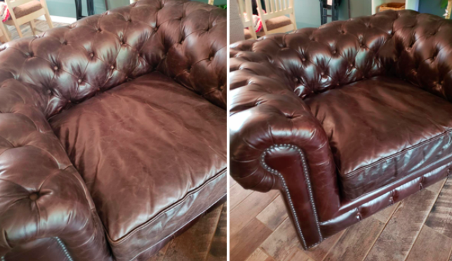 a before and after photo set displaying a reviewer's couch after being treated with the leather conditioner