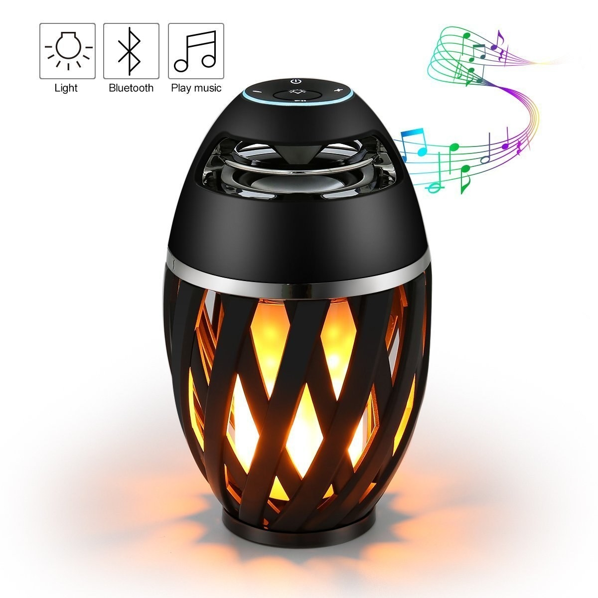 A black bluetooth speaker with its lamp setting turned on. It's shown playing musical notes