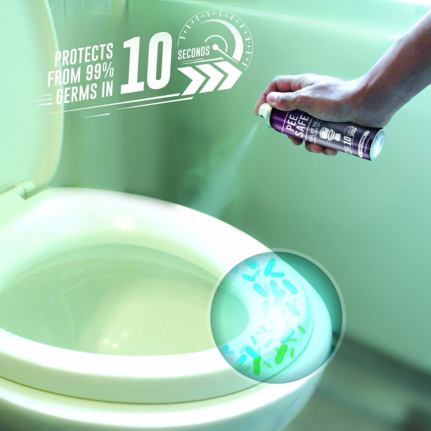 """A hand using the spray on a toilet, with text above it reading """"Protects from 99% germs in 10 seconds."""""""
