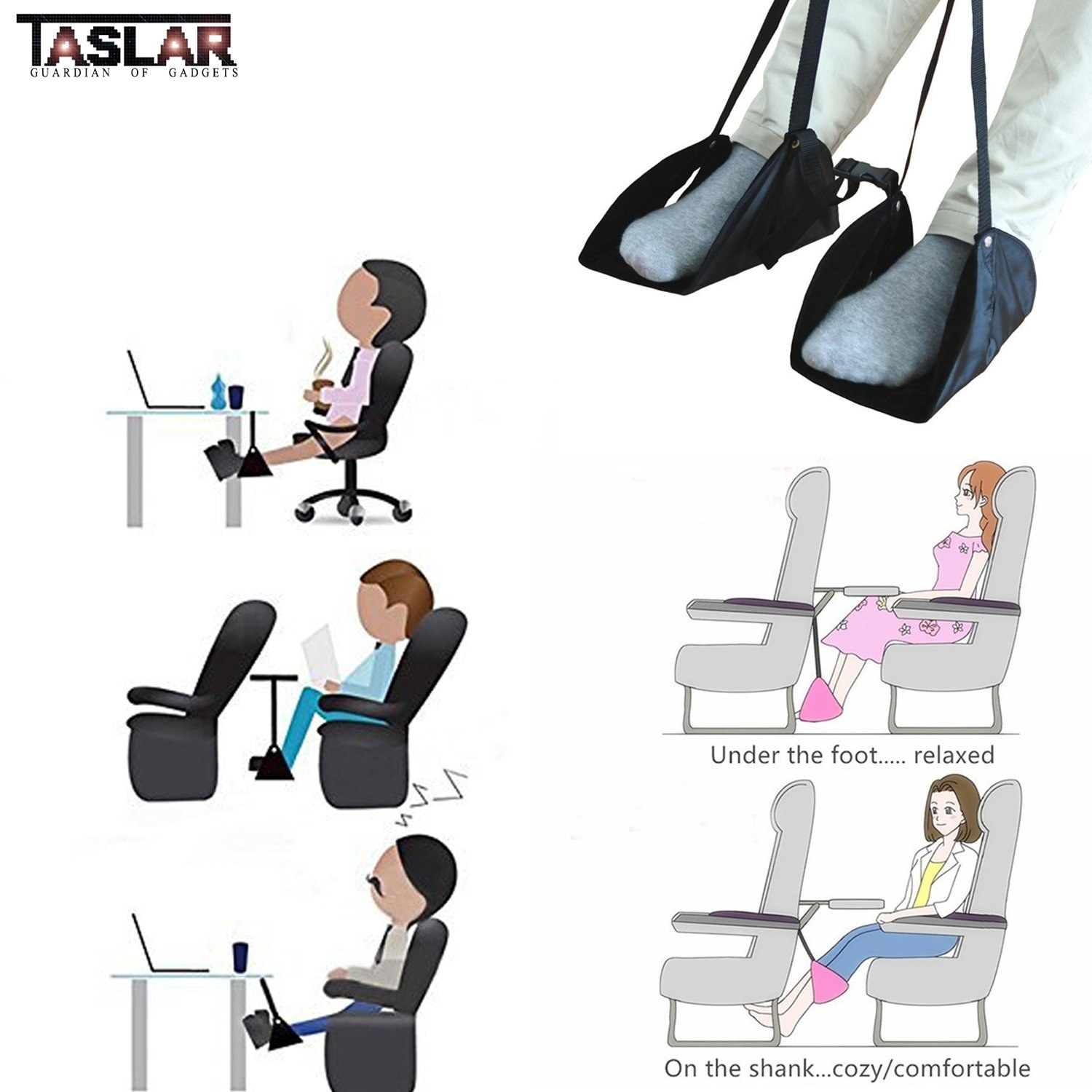 A collage of cartoons showing various use cases of the hammock, like in the office, in a flight, etc.