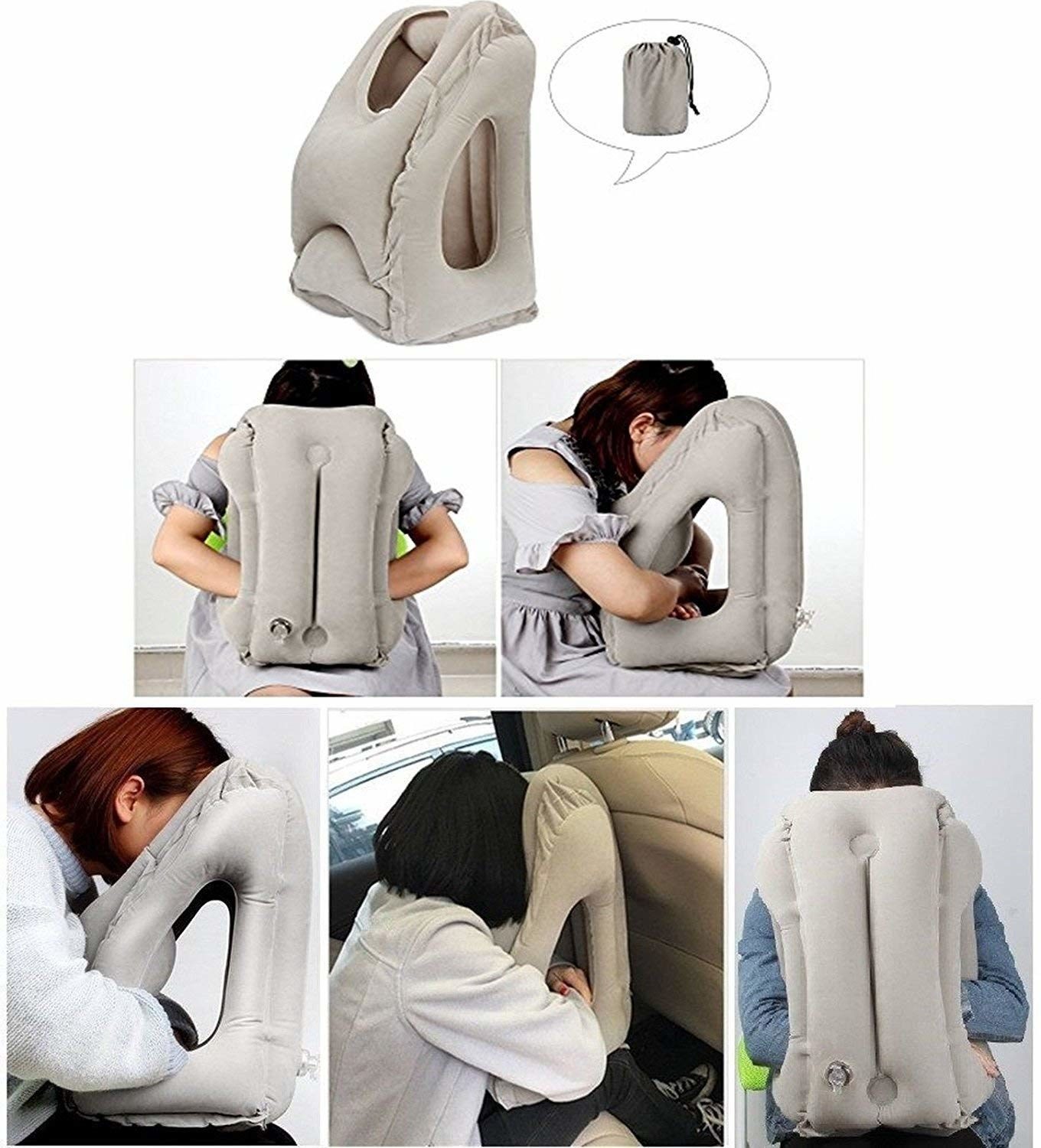 A collage of images showing a person in various settings using the neck rest.
