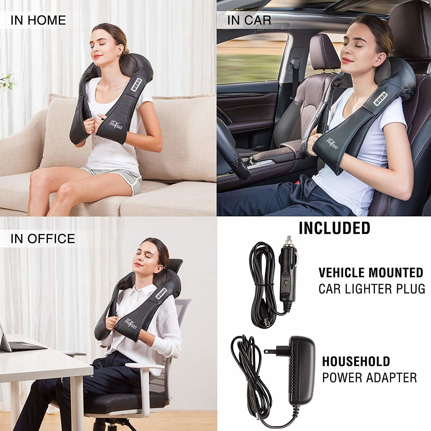 A collage showing various use cases of the massager, such as at home, in the car, and at the office. Also adds that car lighter plug and power adapter are included.