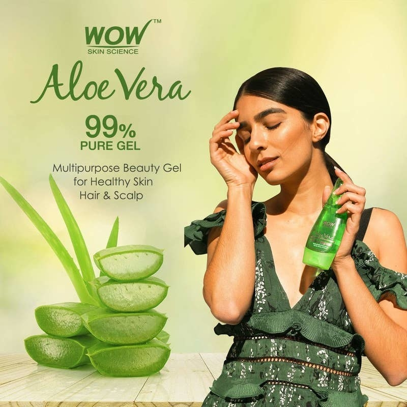 "A person holding the bottle in their hand, with text beside them reading: ""Aloe Vera, 99% pure gel, multipurpose beauty gel for healthy skin, hair & scalp."""