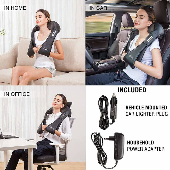 Various places where you can use the massager, such as your home, office, or in car.