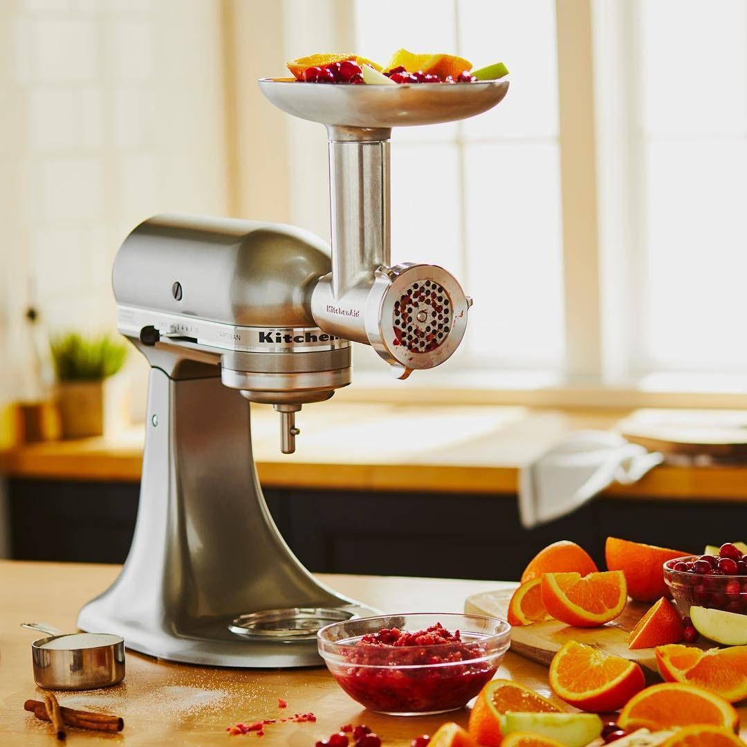 A mixer with the meat grinder attached