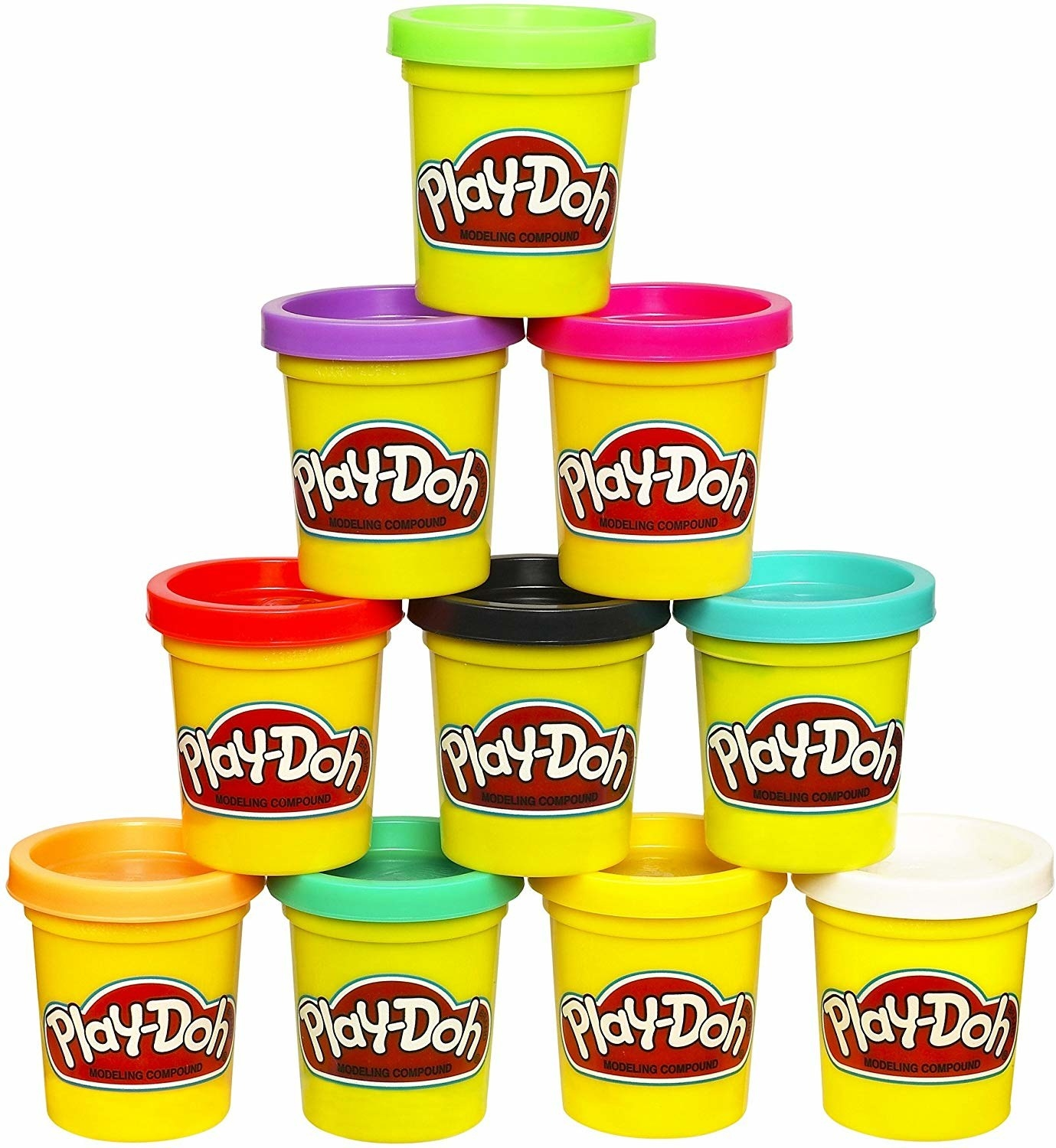 Ten different color containers of Play-Doh stacked in a pyramid
