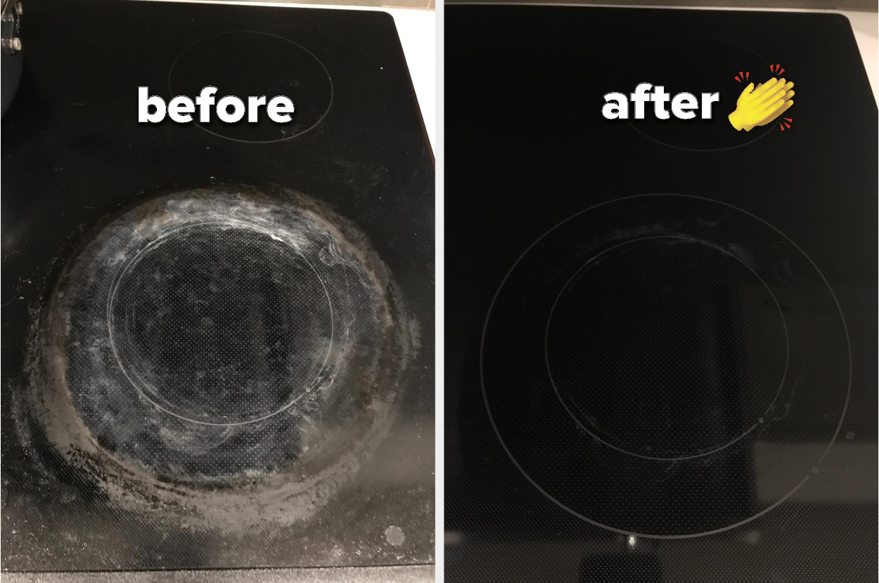 reviewer's pic of crusted on residue on stovetop, then completely clean stovetop after cleaning