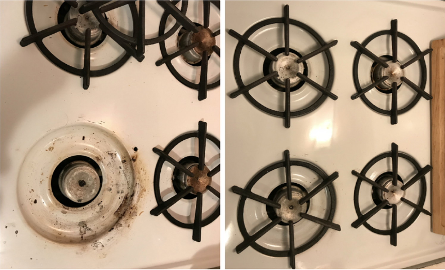 before and after image of stove with caked on burnt food stains and without
