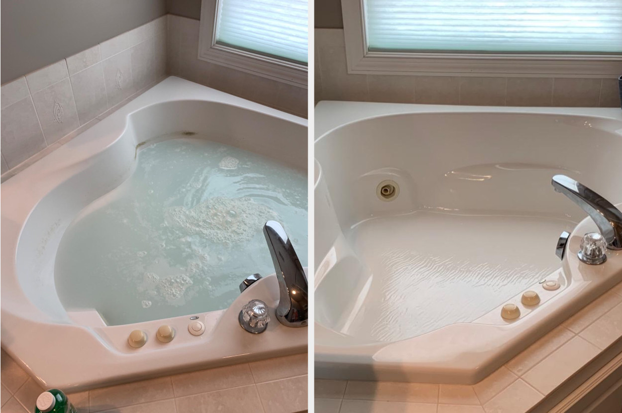 A jetted tub with hard water stains full of water and soap and an after pic of the hard water stains gone from the tub
