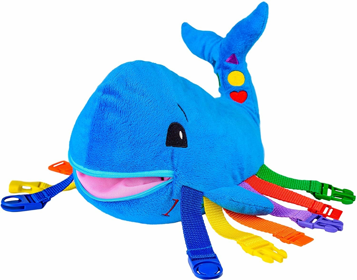 Blue plush whale toy with colorful straps and buckles