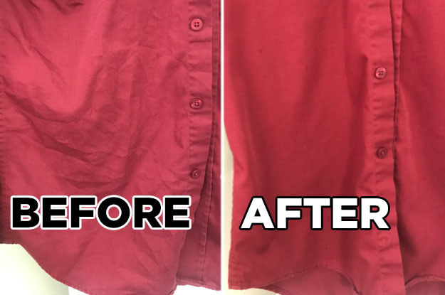 A before and after showing that the steamer smoothed out the wrinkles from a dress shirt