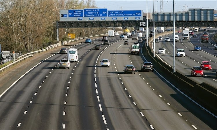 An unusually quiet M25 motorway during the Monday morning rush hour near Heathrow Airport.