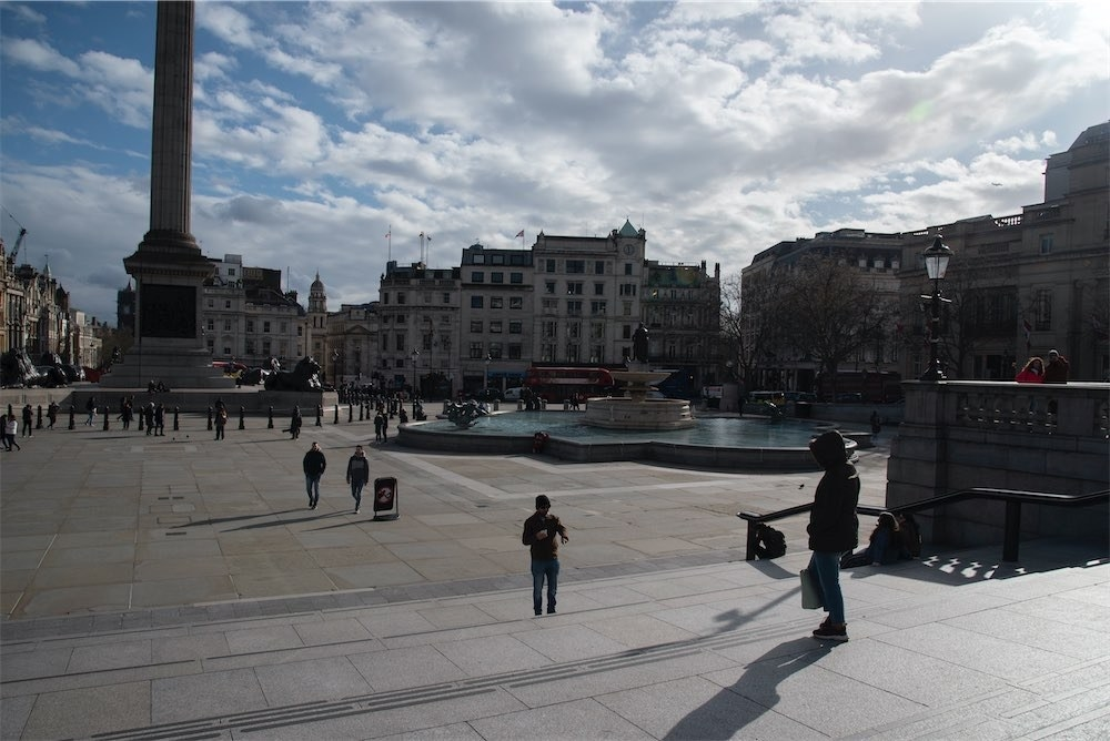 Visibly quiet at Trafalgar Square on March 12.