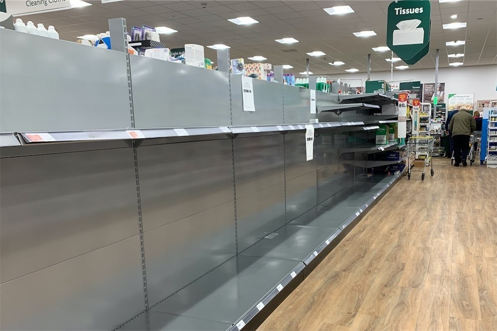 Empty shelves in a store in London as shoppers stockpile basic consumer goods for fears of a potential quarantine.