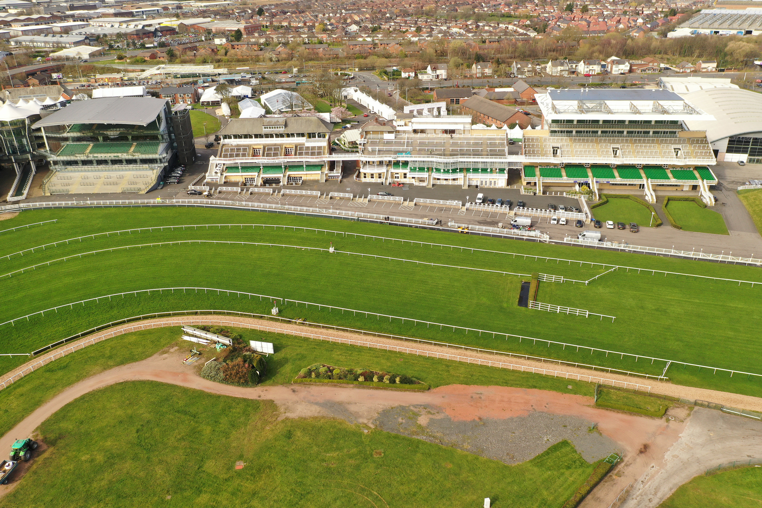 An aerial view of Aintree Racecourse after the annual Grand National horse racing event was cancelled on March 17.